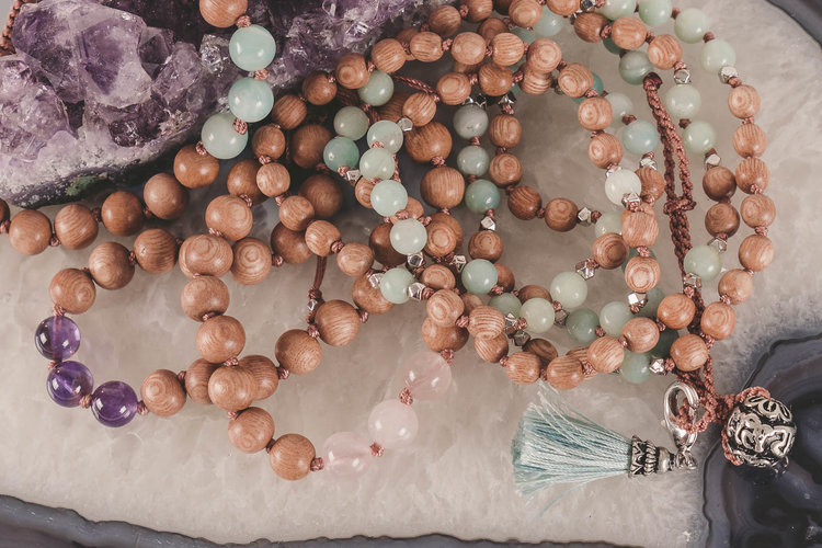 Mala and Mantra Gem & Wood Malas